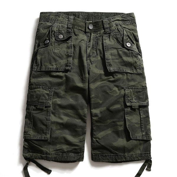 2018 Summer Military Camo Cargo Shorts Camuflaje Moda Multi-bolsillo Army Shorts Casual Homme Bermudas Masculina