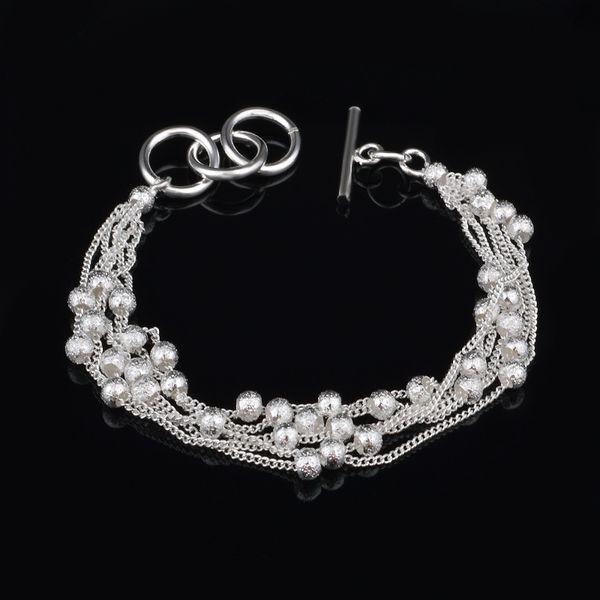 Fashion Multi Layers Silver Chain Bead Bracelet Bangle Simple Bracelets Hip Hop Punk Bracelet Woman Wedding Party Jewelry Woman Gifts