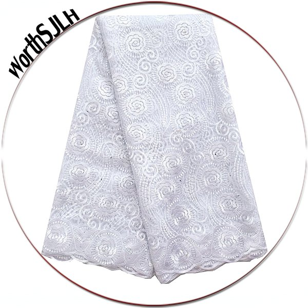 Nigeria French Laces Fabrics High Quality Tulle French White Lace Fabrics For African Parties Aqua Swiss Africa Lace Fabric 2019