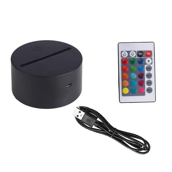 ABS Portable Télécommande tactile Commutateur de capteur LED 3D multicolore Lampe de table de nuit de base Décor Holder Porta Lampada Veilleuses