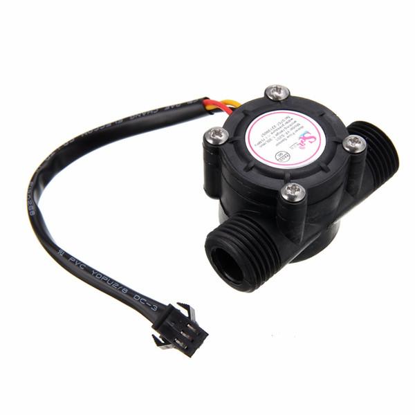1/2 '' Sensor de flujo de agua 1-30L / min Sensor de temperatura del medidor de flujo de pasillo para instrumento de temperatura de medidor de flujo de turbina Arduino