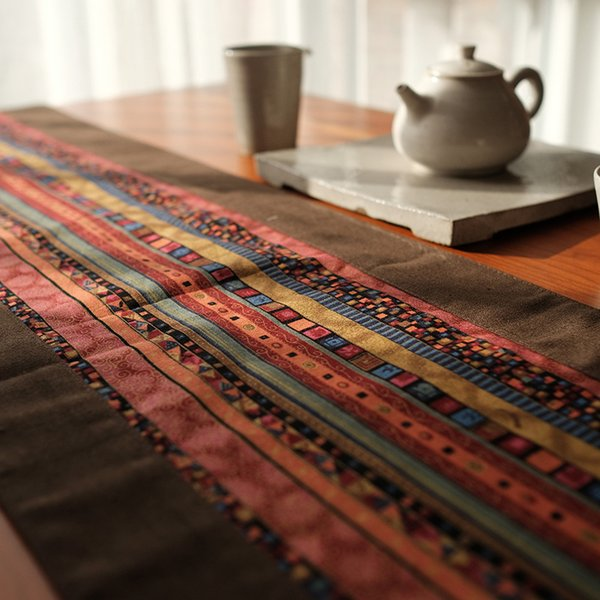 Chinese Classical style Cotton and Hemp printing Table runner Splicing cloth Ethnic style Inn Bed Towel table Tea Towel