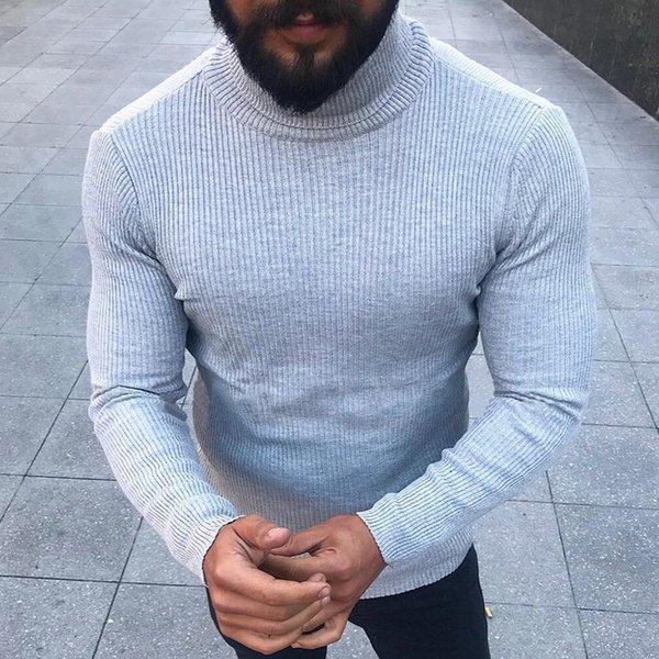 Erkekler Için 2019 Moda Kazak düz renk Kazaklar Turtleneck Slim Fit Süveter Örgü Sıcak Kore Stil Gündelik Giyim Erkekler