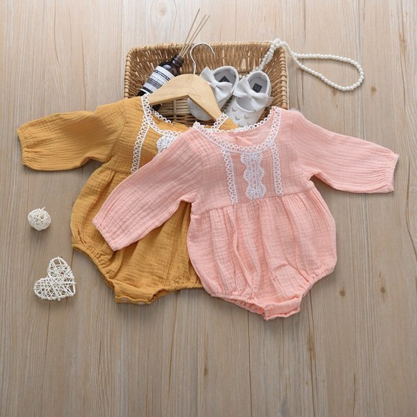 Stylish Fall INS New Baby Infant Girls Rompers Front Lace Collar Long Sleeve Thin Organic Cotton Newborn Girls Jumpsuits 0-24M