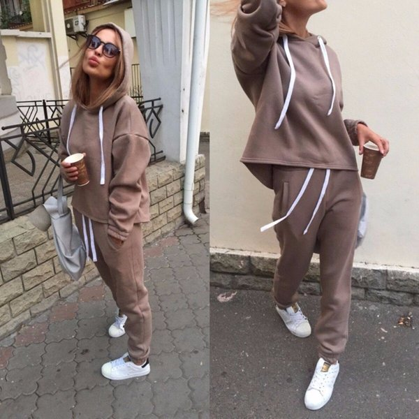 2019 Autumn Tracksuit Solid Running Sets Long Sleeve Thicken Hooded Sweatshirts 2 Pc Set Casual Sport Suit Women Tracksuit Set