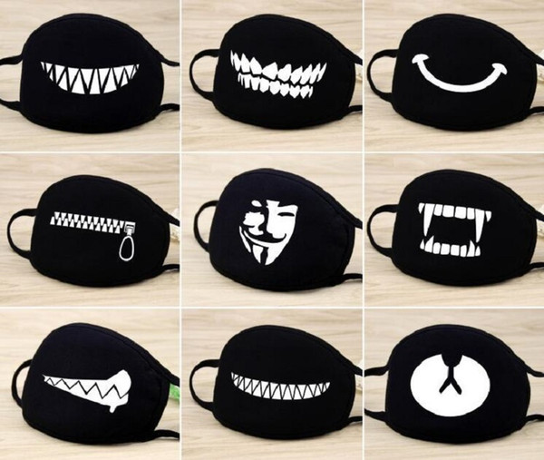 2 pcs/lot 2019 newest Unisex Black Anti-Dust Cute pattern Cotton Mouth Face Mask Respirator for Cycling Anime Cartoon Lucky Bear