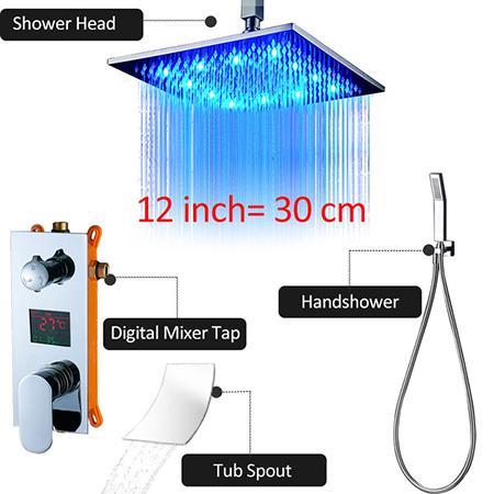 """12""""Chrome Shower Faucet"""