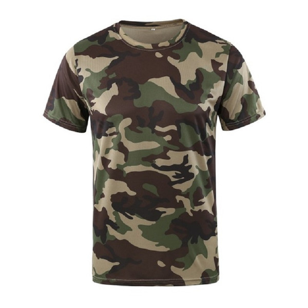 New Camouflage T-shirt Men Breathable Army Tactical Combat T Shirt Dry Camo Camp Tees
