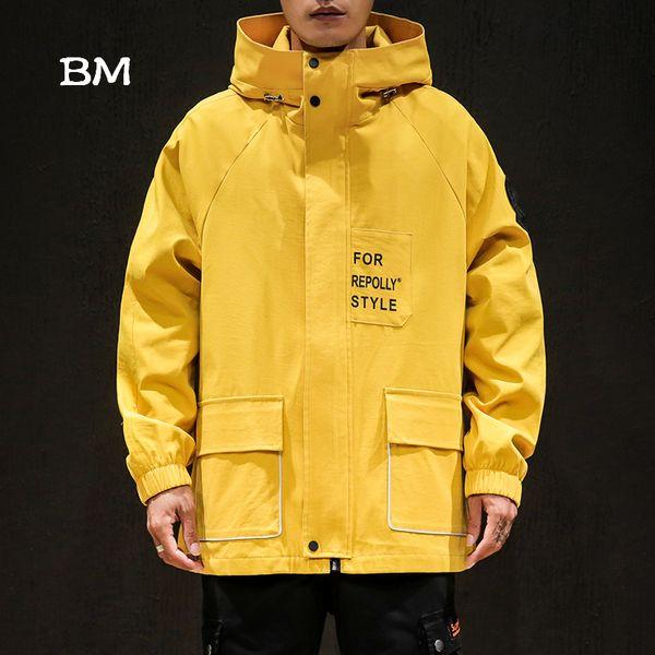 Giacca hip hop moda uomo giapponese streetwear giacca a vento vestiti neri coreano college college giacche cappotti 5XL felpa con cappuccio 2019