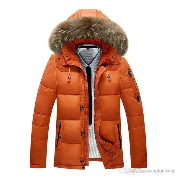 Men's Winter Hooded 90% White Duck Down Jacket Coat Parka Fashion Short Thick Warm Fur Collar Outerwear Overcoat YK8232