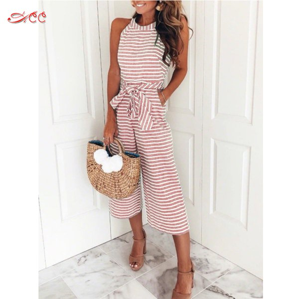 Summer jumpsuit women's sleeveless striped strapless hanging neck waist jumpsuit fashion cotton comfortable wide leg pants S-XL