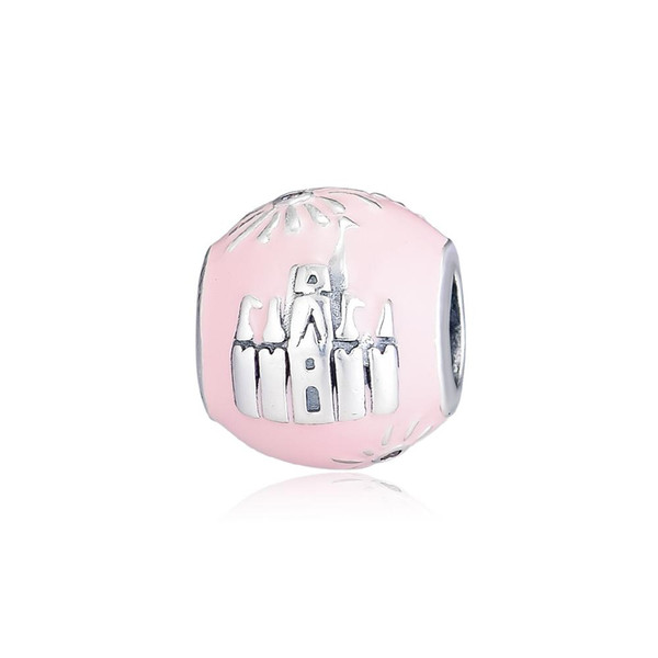 2019 Spring 925 Sterling Silver Jewelry Pink Castle Anniversary Charm Beads Fits Pandora Bracelets Necklace For Women DIY Making