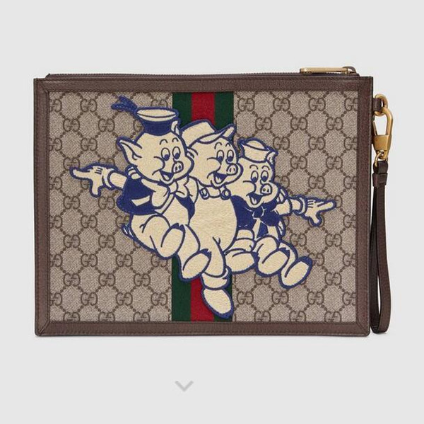 557697 Three piglet pattern advanced artificial canvas clutch MEN WALLETS PURSE Shoulder Bags Crossbody Bag Belt Bags Clutches Exotics