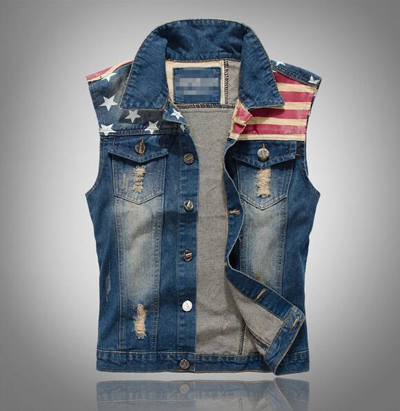 Wholesale- New Arrival Brand Mens Denim Vest Men Cowboy Sleeveless Vintage Jacket Tank Spring Stipe & Star flag washed vest M-XXXL