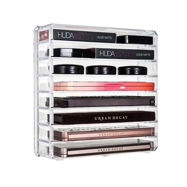 Clear Acrylic Cosmetic Organizer Box Almacenamiento de maquillaje Extraíble Escritorio Baño Pincel de maquillaje Titular de lápiz labial Escritorio Caja de almacenamiento Q190430