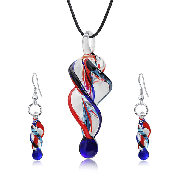 Glass Pendent Necklace Drop Earrings Fashion Jewelry Set For Women Party Birthday Gift Costume Decor Ethnic Style