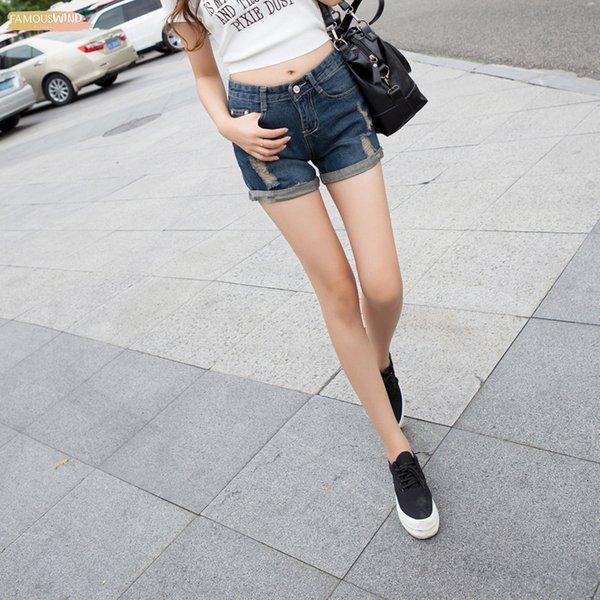 Горячие шорты Hole Твердых хлопок женских джинсы для женщин Женской Женской одежды девочек Малого размера Большого размер