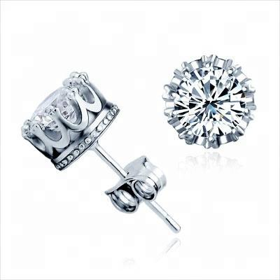 100% 925 Sterling Silver CZ Stud Earrings For Women Jewelry Classic Princess Crown Earrings Cubic Zircon Ear Piercing