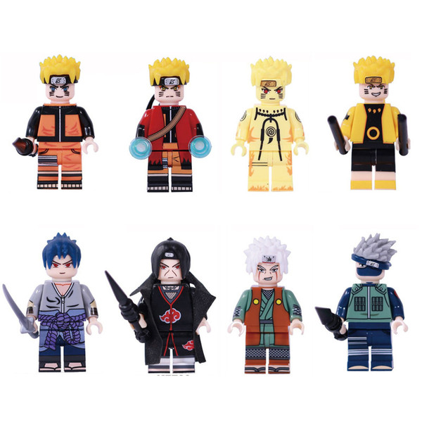 Japonya Karikatür Anime Naruto Hokage Ninja Uzumaki Naruto Hatake Kakashi Uchiha Sasuke Itachi Jiraiya Mini Eylem Şekil Yapı Taşları Oyuncak