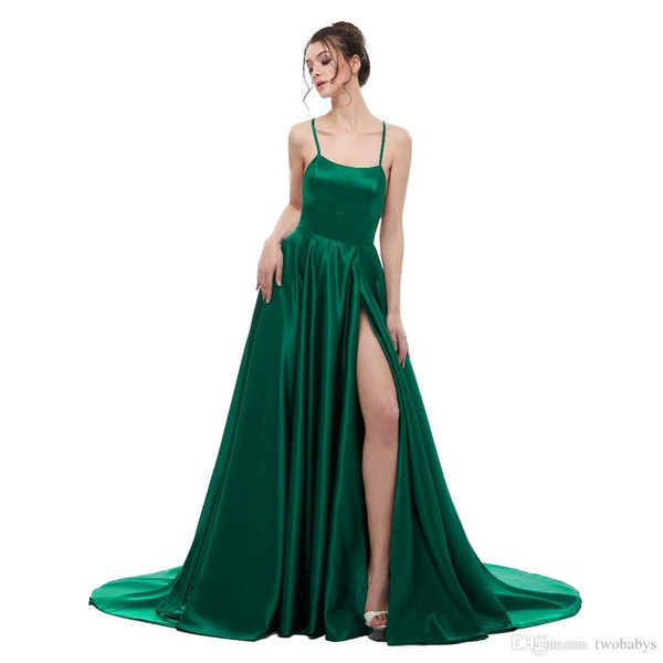 Green Evening Dress A Line Satin with Spaghetti Straps Long Prom Party Dress Side Split Abendkleider Evening Gowns