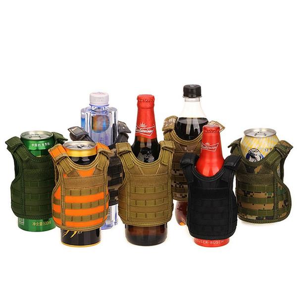 7 Cor Mini Colete Tático Ao Ar Livre Molle Colete Tampa de Garrafa De Cerveja De Vinho Colete Refrigerador De Bebidas Ajustável Drinkware Handle CCA11708 30 pcs