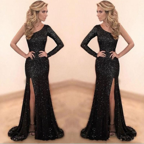 Sparkly Preto Lantejoulas Vestidos de Baile 2019 Custom Made Um Ombro Sereia Longo Vestido de Festa Sexy Side Fenda Vestidos de Noite robe de soiree