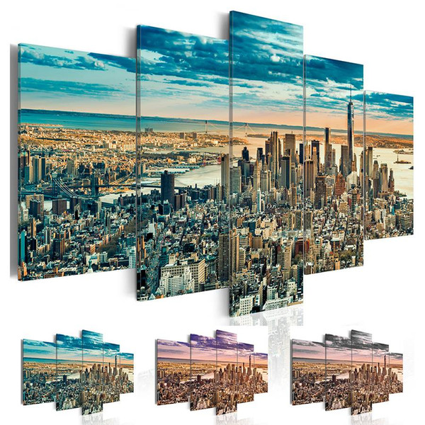 Fashion Wall Art Canvas Painting 5 Pieces Blue Grey Purple New York Architectural Landscape Modern Home Decoration, No Frame