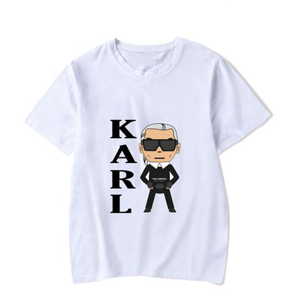 Diseñador Rock Karl Imprimir Casual Hombres Camisetas Adolescente de manga corta O cuello Lagerfeld Moda Tops Hot