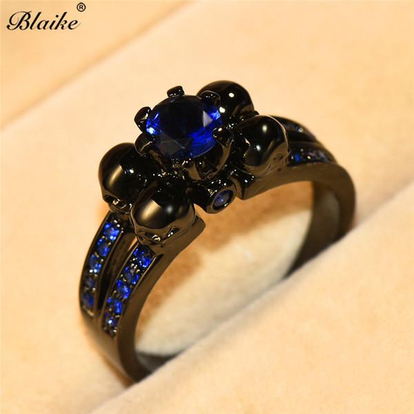 Blaike Fashion Blue Zircon Stone Skull Rings For Women Men Vintage Black Gold Filled Wedding Band Halloween Gifts Ring Jewelry