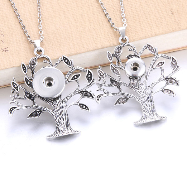 New Tree Of Life Snaps Jewelry Metal Snap Button Necklaces 18mm 20mm Snap Pendant Necklace For Women Girls DIY Jewelry Gift 4626