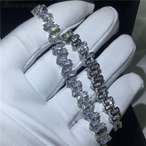 Choucong Женский Белое Золото Багет Браслеты 5А Циркон CZ Серебро Цвета Свадебный браслет для женщин Мода Ювелирные Изделия