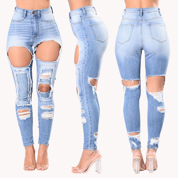 Wholesale Women jeans High Strength Water washed skinny jeans Ladies fashion New Style Leisure Bottom Jeans 187#