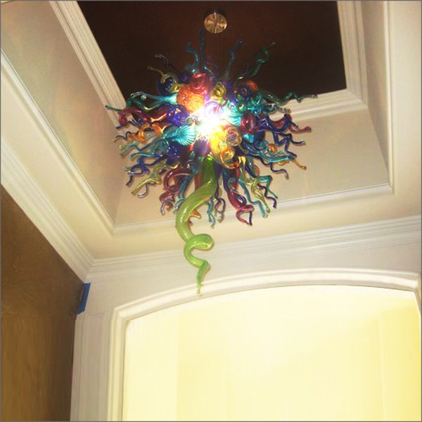 China Factory Outlet Handmade Blown Murano Glass Chandeliers High Ceiling Decoration Blown Glass Chain Pendant Lamps