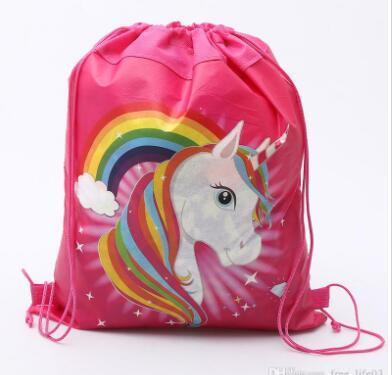 Unicorn Drawstring Bag for Girls Travel Storage Package Cartoon School Backpacks Children Birthday Party Favors 5 Styles Gifts Free Shipping