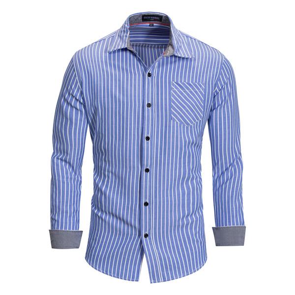 Moda Tasarımcısı T-Shirt Mens Tişörtü Bahar Çizgili Erkek Tee Gömlek Uzun Kollu Casual Erkekler Tops Giyim 2 Renkler M-3XL Toptan