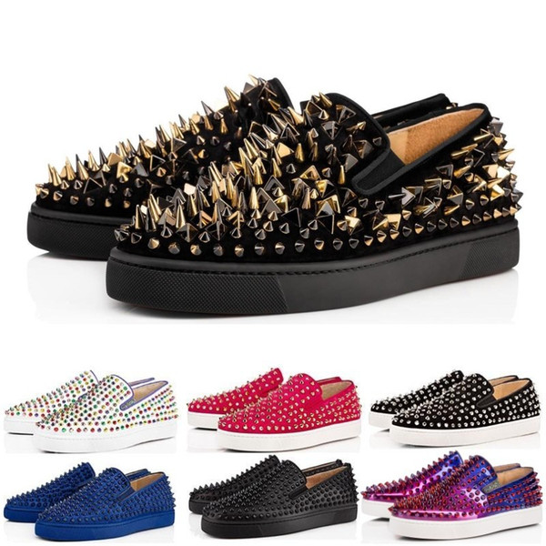 New Designer fashion Low Red Bottom Studded Spikes Flats shoes For Men Women Party Genuine Leather casual Sneakers size 36-47