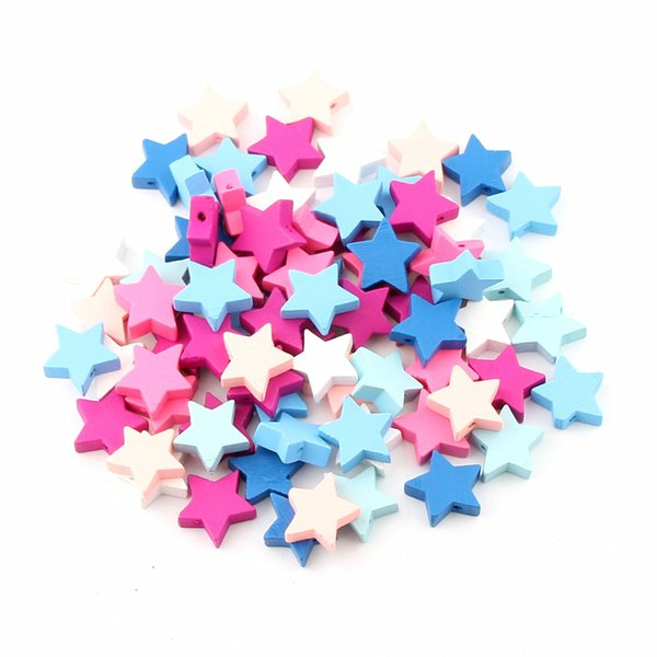 multicolor beads 40pcs Multicolor Star Shape Wooden Spacer Beads For Jewelry Making Kids Pacifier Clip Teerther DIY Findings 20x19mm