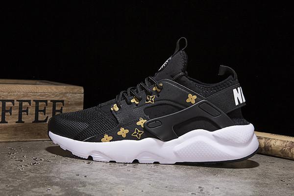 201 nouvelles chaussures top baskets 4s Huarache Running chaussures formateurs air hommes et femmes noir blanc extérieur chaussures blanches Huaraches 36-45