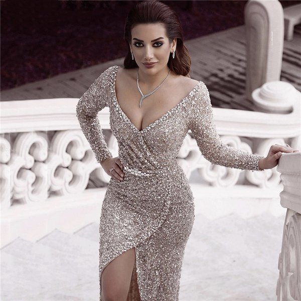 Dubai Luxury Silver Sequine Diamond Sexy Deep V-Neck Prom Dresses Long Sleeves Sparkle Evening Gowns Special Occasion Dress robes de soirée