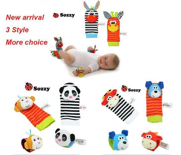 400pcs nuovo arrivo sozzy polso sonaglio sonaglio finder giocattoli per bambini sonaglio sonaglio calze lamaze bambino sonaglio calze e braccialetti