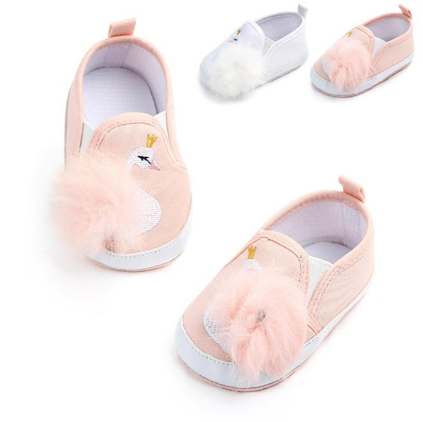Newborn Autumn Baby Shoes Canvas First Walkers Fur ball princess shoes cartoon swan Baby Girls Shoes