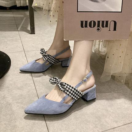 sandales femme Baotou épaisseur avec 2019 nouvelle ceinture nœud papillon pointue avec des chaussures de fées