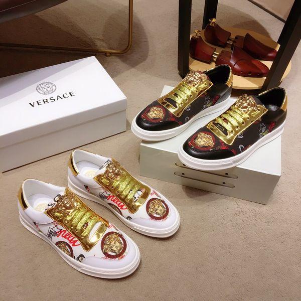 Sneakers firmate di marca italiana Luxury Medusa in vera pelle nero bianco moda passerella plat scarpe casual scarpe zapatos chaussures per uomo