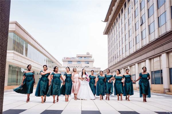 Sexy Dark Green Off Shoulder Sheath Bridesmaid Dress African Cheap Lace Appliqued Wedding Guest Gown Tea-Length Evening Prom Dress