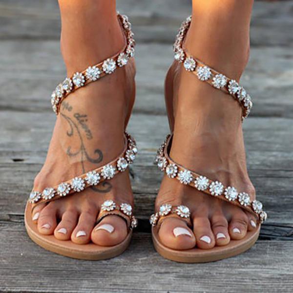 Heißer verkauf-frauen sandalen kristall sommer schuhe frau strand flache sandalen plus size flip flop damen weichen boden hausschuhe