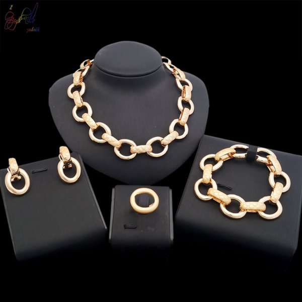 Yulaili The Latest Fashion Round Design Gold-color African Women's Chain Necklace Bracelet Earrings Ring Jewelry Sets Simple And Luxurious