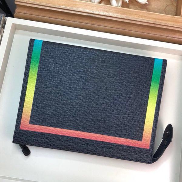 M30675 neue Unisex Paris Marke Designer Handtasche Leder Kreditkarte + Fach Regenbogen gedruckt Leder Clutch Reißverschluss Handtasche Taschen mit