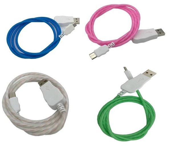 Fließende LED sichtbar blinkend USB-Ladekabel Ladegerät 1M 3FT Data Sync Typ C Light Up Kabel für Samsung S7 S6 Rand HTC