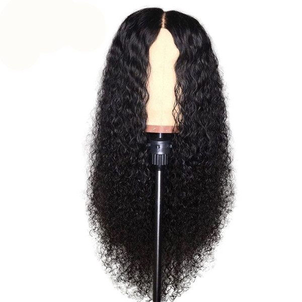 Top quality Kinky curly Human Hair Lace Front Wigs Brazilian Hair Malaysian Swiss Lace Cap Bleached Knots lace front wig with baby hair
