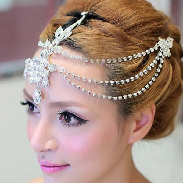 Clear crystal dangle forehead headband tiara crown bridal pageant prom headpieces wedding teardrop hair jewelry accessories 1pc D19011103
